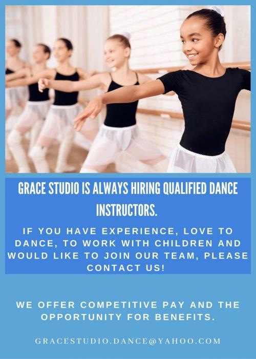 Hiring instructors Grace Studio 2021 Flyer-2